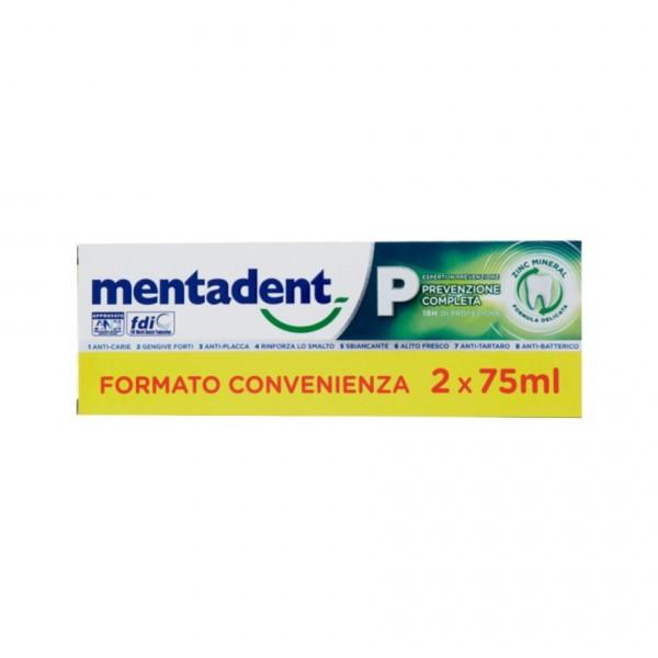 Mentadent P Dentrificio Prevenzione Completa - Antiplacca ed antitartaro - Confezione Bitubo - 2 x 75 ml
