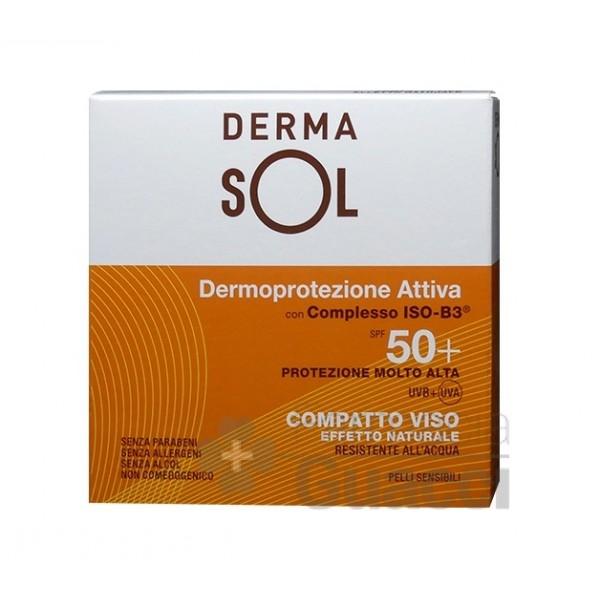 Dermasol Compatto Viso SPF50+ Crema Compatta Effetto Naturale - Protezione Solare Molto Alta - 10 g