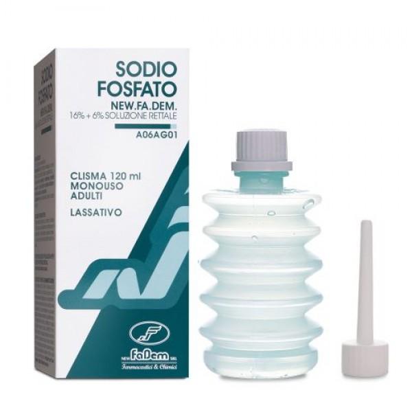 Sodio Fosfato - Clistere monouso ad azione lassativa - Adatto per adulti - 120 ml - Fadem