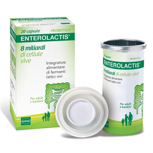 ENTEROLACTIS - Integratore a base di fermenti lattici vivi - 20 capsule