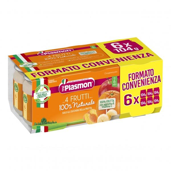 Plasmon Omog 4 Frutti 6x104g