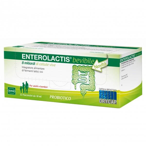 ENTEROLACTIS bevibile - Integratore a base di fermenti lattici vivi - 12 flaconcini