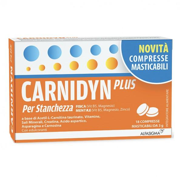 Carnidyn Plus - Integratore per stanchezza ed affaticamento - 18 Compresse Masticabili
